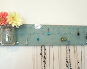 Kitchen Wall Hanging Storage Mason Jars Jewelry Holder, Distressed Green - READY TO SHIP