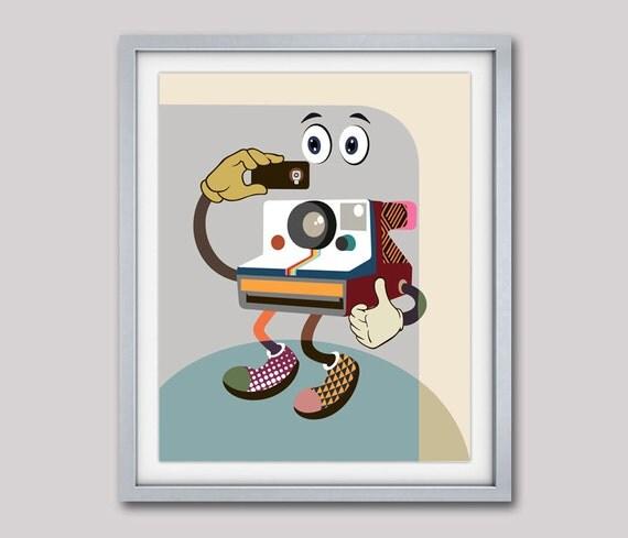Retro Art, Polaroid Print, Camera Art, Colorful Pop Art, Retro Wall Decor, Retro Wall Art, Retro Camera, Retro Painting