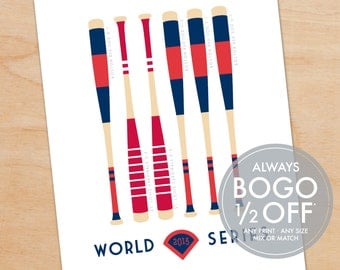 2013 World Series Print, Boston Red Sox, St. Louis Cardinal, Baseball Bat Print, father's day gift ideas, gift for husband, baseball fan