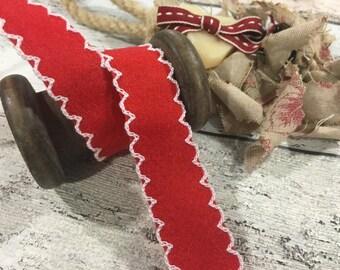 Red Felt Scalloped Edge Christmas Ribbon,  Christmas, By the Metre