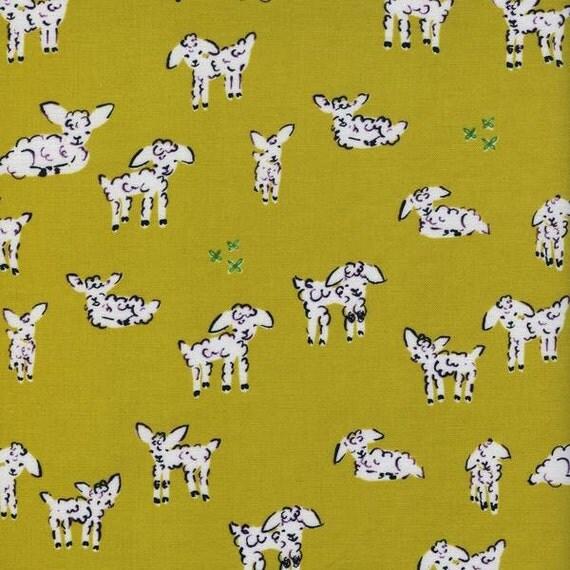 Baby green fabric lamb fabric nursery fabric fabric by the for Baby nursery fabric yard