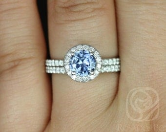 Callie 1.07cts 14kt Rose Gold Icy Cornflower Blue Sapphire and Diamonds Halo Wedding Set