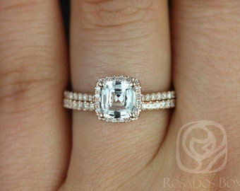 Rosados Box Catalina 1.04cts 14kt Rose Gold Cushion White Sapphire and Diamond Halo Wedding Set
