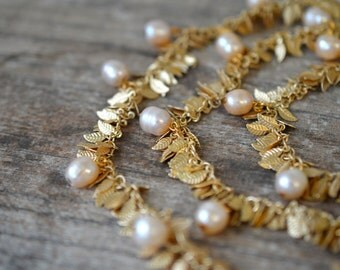 Triple strand gold leaf chain necklace Blush peach pearl drop necklace Tiered multistrand necklace