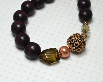 Brown wood big bold chunky necklace with eclectic beads Boho statement necklace Bohemian jewelry