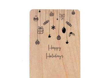 Happy Holidays Ornaments Wood Laser-Cut Card