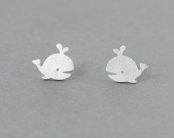 Whale  Earrings - Whale Stud Earrings - handmade in sterling silver