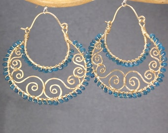Hammered decorative hoops, choice of stone Siren 229