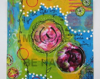 20x20cmoriginal  art on paper,  small painting, mixed media, happy art, serendipity art