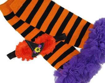 HALLOWEEN Leg Warmers Headband Set, Orange and Black Striped Leg Warmers w Purple Ruffle, Matching Witch's Hat Headband, Halloween Outfit