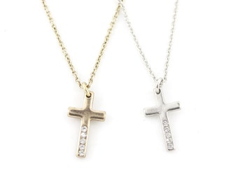 Two Pieces of Small Cross Pendant Necklaces Set