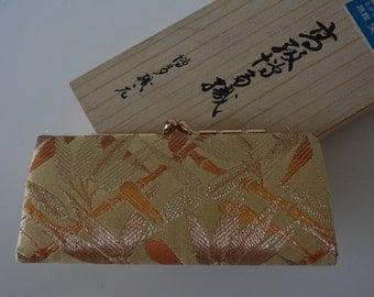 Silk brocade coin purse, small saga nishiki brocade purse, boxed
