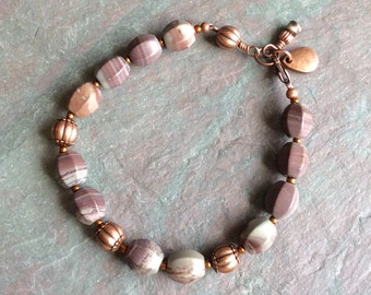 """Gray Agate Bracelet / One-of-a-Kind / Burgundy / Antique Copper / Faceted / Seed Beads / Bead / Stone / Charms / Variegated - 8"""" long - B64"""