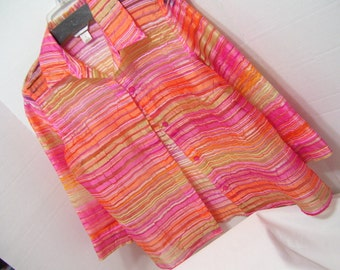 Sheer Multi Colored Rainbow Over Blouse Christopher Banks  Size Small Resort cruise wear