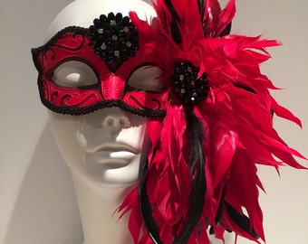 Red Mask -Feather Mask -Venetian Mask- Halloween Mask- Masquerade Mask- Custom party mask- Masked ball- Masquerade Ball-  Mardi Gras Mask