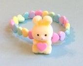 Fuzzy Pastel Yellow Bunny and Heart Stretch Bracelet with Rainbow Beads