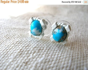 SALE Turquoise Matrix Earrings - Small Post Earrings - White Earrings - Small White Post Earrings