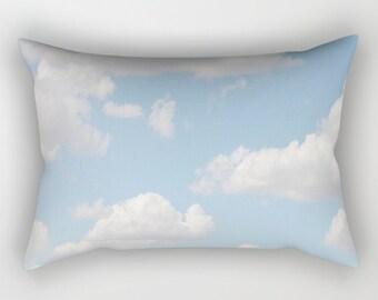 Decorative Pillow  Accent Pillow Puffy White Clouds Throw Pillow  Cloud Scape Blue Sky Summer Day  Lumbar Pillow Pastel Home Decor Office