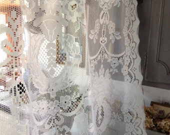 romantic vintage cream lace panel, gorgeous cream victorian style shabby chic cottage lace curtain panel by herminas cottage