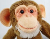 Vintage Monkey Doll Toy Herman Pecker Chimpanzee Chimp Poseable Pose Plush Rotating Moving Head and Tail Made In Japan