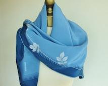 PANCALDI silk scarf, vintage silk scarf, Italian silk scarf, large square scarf, made in Italy, Steel grey scarf, hand rolled