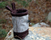 Handmade Rock Climber's Chalk Bag, Chocolate Brown and Pale Blue Chenille Yarns, Handmade Limited Quanity - Travis Stripe Design