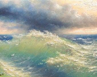 "42 - ""The Ocean wave"",  8""x 10"" original canvas giclee print"