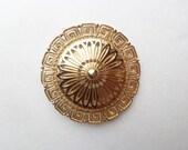 LARGE 80s brooch/ round goldtone vintage Monet dandelion egyptian style pin