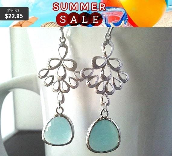 Multi Teardrop with Mint Silver Chandelier Earrings, Drop, Dangle, bridesmaid gifts,Wedding jewelry, Mint Earrings, Christmas gift