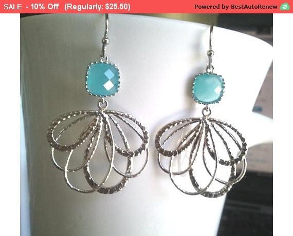 Peacock feather Mint silver Drop Earrings - Dangle Earrings,bridesmaid gifts,Wedding Earrings,christmas gift