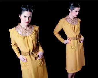 1940s style Dress - Mustard viscose and lace fabrics Retro Dress - Marlene 40s Reproduction Dress