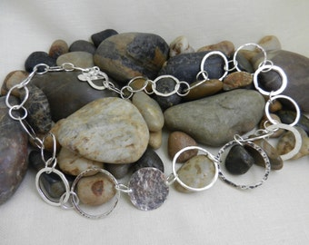Silver rings chain necklace