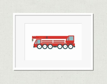 Nursery print, modern nursery art, kids room art, nursery art, crane print, nursery decor, red crane, truck, red truck, red art