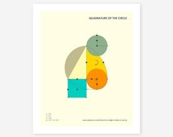 QUADRATURE 0F THE CIRCLE (Giclée Fine Art Print/Photo Print/Poster Print) Minimal, Geometric Art