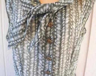 vintage dress, sheer, gray-green pattern, fancy buttons, collar tie, roomy, 1970's
