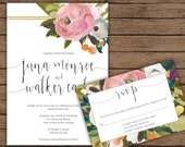 Modern Calligraphy Floral Watercolor Wedding Invitation with RSVP