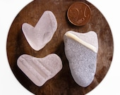 Heart Shaped Sea Glass,Frosted Beach Glass Hearts, Pendant Supplies, Jewelry Supply, White / Gray Beach Glass