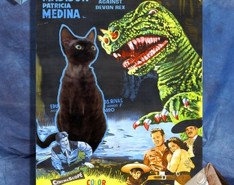 Devon Rex Cat Fine Art Canvas Print - Beast of Hollow Mountain Movie Poster NEW COLLECTION