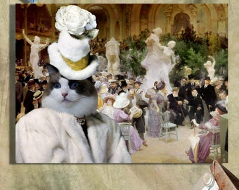 Ragdoll Cat Fine Art Canvas Print - Friday at the French Artists' Salon