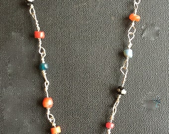 ancient beads and half bead soldered center necklace