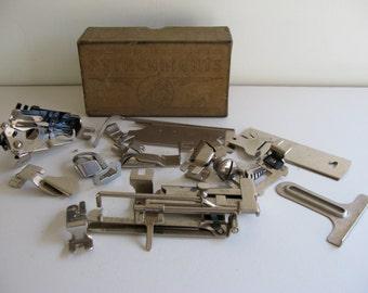 Vintage GREIST Sewing Machine ATTACHMENTS/Vintage Box of Sewing Machine Parts/Sewing Machine Parts in Vintage Box/Sewing Attachments/Parts