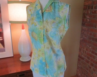 vintage watercolor lady manhattan blouse. sunflowers. 1960s sleeveless top.  Size 6.