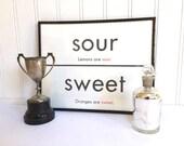 VINTAGE FLASH CARD - Sweet Sour - Antonym - Kitchen Art Print - Room Decor - 11 x 14 - Black White - Industrial -
