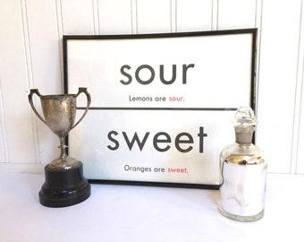 VINTAGE FLASH CARD - Sweet Sour - Antonym - Art Print - Room Decor - 11 x 14 - Black White - Industrial -