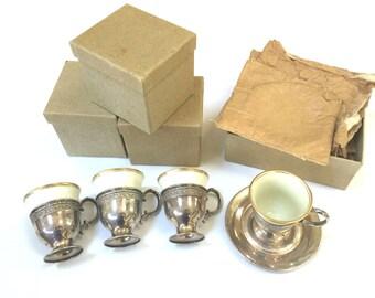 8 Webster VINTAGE STERLING SILVER Demitasse Cups Saucers - Lenox Porcelain Inserts - Gold Trim