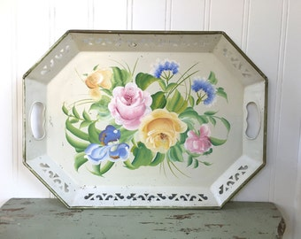 TOLE ROSES TRAY - Cream - Reticulated - Floral - Toleware - Shabby Chic