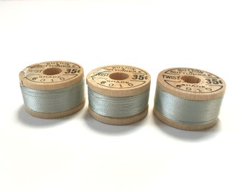BELDING CORTICELLI - Vintage Thread - Pure Silk - Light Blue Gray #6010 - 10 yd Spools - Buttonhole Embroidery Ribbon Fly Tying Fishing