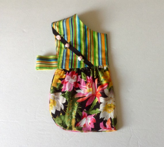Small Dog's Dress Chihuahua - Cotton Pink, Green, Black & Turquoise Desert Blossoms One of a Kind, Size XS