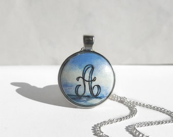 Chic Letter A Necklace, Monogram Necklace A, Sea Painting Personalized Necklace Painted Charm, Initial A Necklace, Hand Painted by Artdora