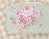 "Brown Plaid Cotton, Pink Rose Flower On Light Grey Green Cotton, Coordinate Cotton Fabric- 1 /2 yard 18""X63"""